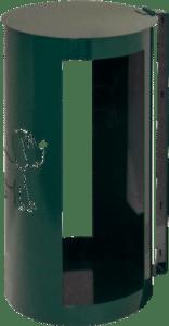 Poubelle SALIGNOISE vue de côté : norme vigipirate, made in France, tout métal, découpe laser en façade