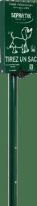 Distributeur de sacs à déjections canines sur poteau. compatible avec sacs BIO-COMPOST