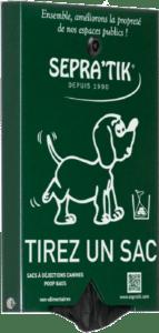 Distributeur de sacs à déjections canines SEPRA'TIK compatible avec sacs BIO-COMPOST
