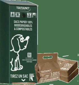 TOUTOUNET-ECO : Distributeur de sacs en papier pour déjections canines