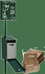 TOUTOUNET-ECO : Distributeur de sacs en papier pour déjections canines et corbeille
