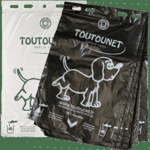 TOUTOUNET® ECO : Liasse de sacs à déjections canines compatible à un maximum de distributeurs. Fabriquée en France