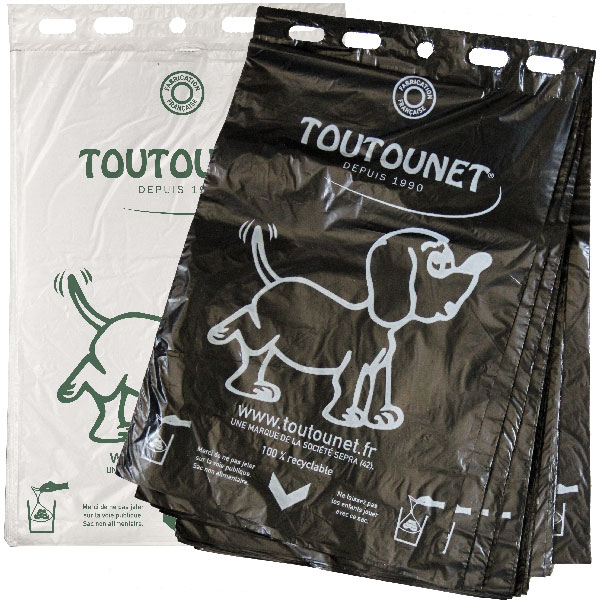 sacs TOUTOUNET ECO liasse de 100 sacs NOIRS ou BLANCS - carton de 5000 sacs