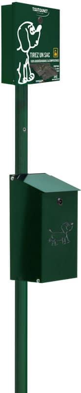 TOUTOUNET SPART pour distribution de sacs canins en rouleaux et corbeille aluminium
