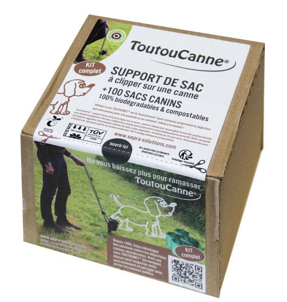 Boite KIT ToutouCanne et sacs BIO-Compost en mini rouleaux